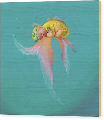 Mira As A Tropical Fish Wood Print by Anne Geddes