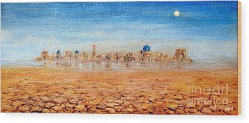 Wood Print featuring the painting Mirage City by Arturas Slapsys