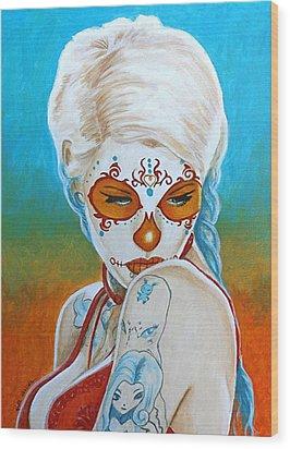 Wood Print featuring the painting Mirando Hacia Atras Para No Olvidar Nunca by Al  Molina