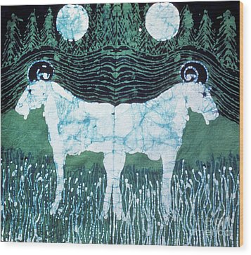 Mirror Image Goats In Moonlight Wood Print by Carol Law Conklin
