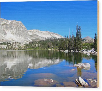 Mirror Lake Wyoming Wood Print by Kristina Chapman