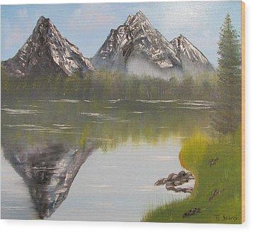 Mirror Mountain Wood Print