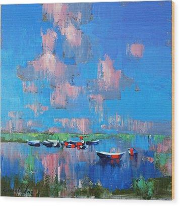 Wood Print featuring the painting Mirror Of Water by Anastasija Kraineva