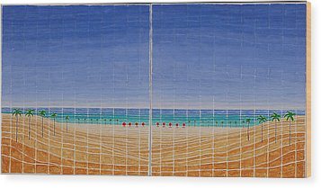 Mirror Twin Beaches Wood Print
