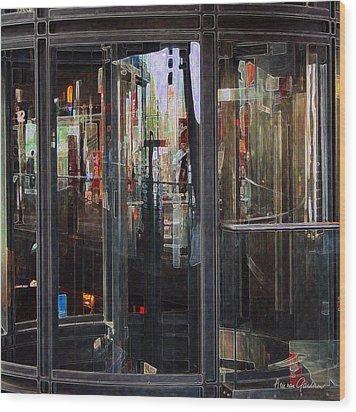 Mirroring The Elevatorshaft Wood Print