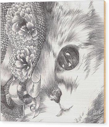 Miss Cat Wood Print