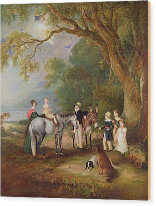 Miss Catherine Herrick With Her Nieces And Nephews Wood Print by John E Ferneley