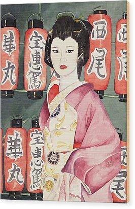 Miss Hanamaru At Osaka Festival Wood Print by Judy Swerlick