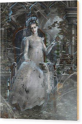 Miss. Havisham Wood Print by Mary Hood
