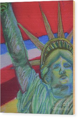 Miss Liberty Wood Print by Emily Michaud