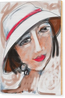 Wood Print featuring the digital art Miss Mary by Elaine Lanoue