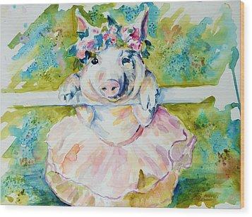 Miss Piggy At The Bar Wood Print