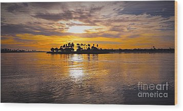 Mission Bay Purple Sunset By Jasna Gopic Wood Print by Jasna Gopic