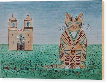 Mission Conception Cat Wood Print
