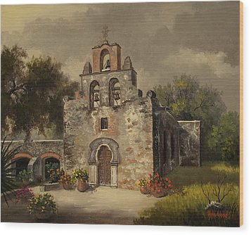 Mission Espada Wood Print by Kyle Wood