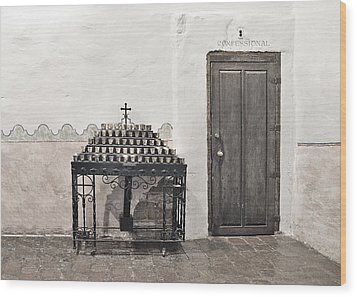Wood Print featuring the photograph Mission San Diego - Confessional Door by Christine Till