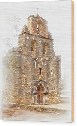 Wood Print featuring the photograph Mission San Francisco De La Espada In Faux Pencil Drawing  by David and Carol Kelly
