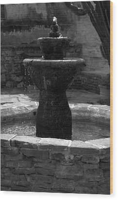 Mission San Juan Capistrano Fountain Wood Print by Brad Scott