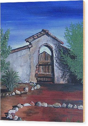 Wood Print featuring the painting Rustic Charm by Mary Ellen Frazee
