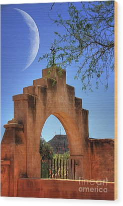 Mission San Xavier Del Bac Wood Print by Lois Bryan