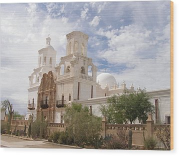 Mission San Xavier Wood Print by Jeanette Oberholtzer