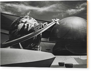 Mission Space Black And White Wood Print by Eduard Moldoveanu