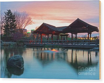 Wood Print featuring the photograph Mississauga Japanese Garden by Charline Xia