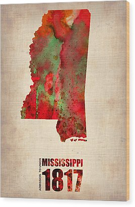 Mississippi Watercolor Map Wood Print by Naxart Studio