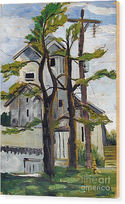Missouri Nowata Elevator Wood Print by Charlie Spear