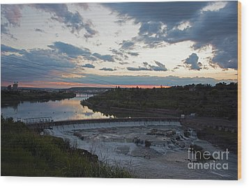 Missouri River Black Eagle Falls Mt Wood Print by Cindy Murphy - NightVisions
