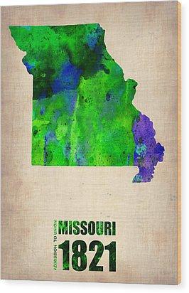Missouri Watercolor Map Wood Print by Naxart Studio