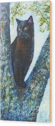Missy In Tree Wood Print by Jana Baker