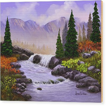 Wood Print featuring the painting Mist In The Mountains by Sena Wilson