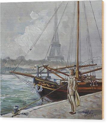 Mist On The Seine, Paris Wood Print