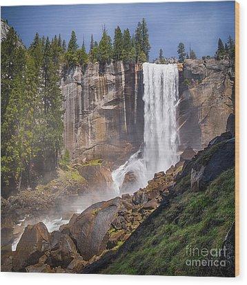 Mist Trail And Vernal Falls Wood Print