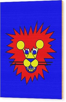 Mister Lion Wood Print by Asbjorn Lonvig