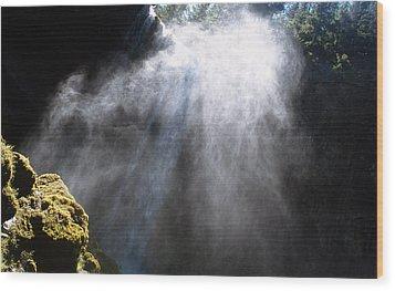 Mistic Falls Wood Print by Benjamin Garvey