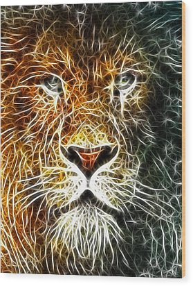 Wood Print featuring the mixed media Mistical Lion by Paul Van Scott
