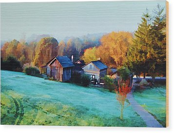Wood Print featuring the photograph Misty Autumn Day by Diane Alexander