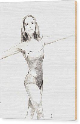 Misty Ballerina Dancer II Wood Print