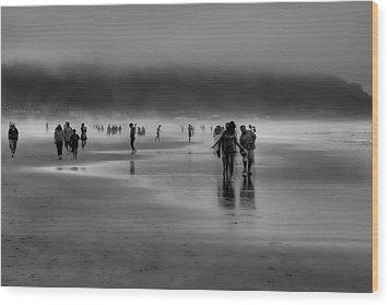 Misty Beach Wood Print by David Patterson