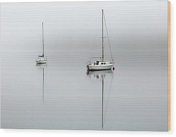 Wood Print featuring the photograph Misty Boats by Grant Glendinning