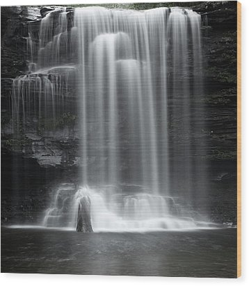 Misty Canyon Waterfall Wood Print