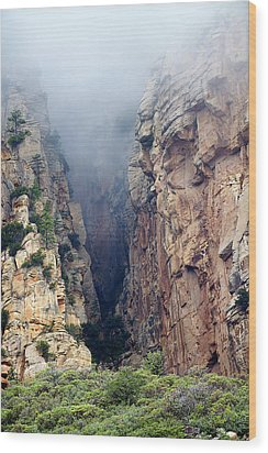 Wood Print featuring the photograph Misty Canyons by Phyllis Denton