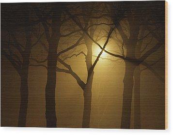 Misty Cross Wood Print by Erik Tanghe