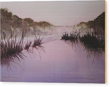 Misty Dawn Wood Print by Kathy  Karas