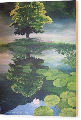 Misty Dawn Wood Print by Sharon Marcella Marston