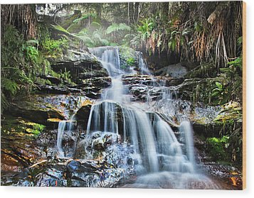 Wood Print featuring the photograph Misty Falls by Az Jackson