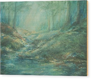 The Misty Forest Stream Wood Print by Mary Wolf