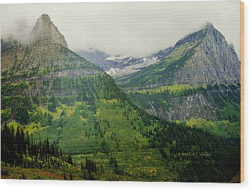 Wood Print featuring the photograph Misty Glacier National Park View by Kae Cheatham